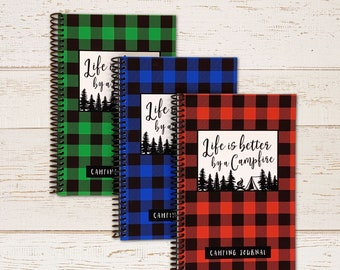 Life is Better by a Campfire - Camping Journal - Red, Green, or Blue Buffalo Check Plaid - New RV Camper Gift - Family Road Trip Travel Book
