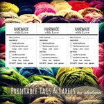 """Care Instruction Printable PDF Cards  - """"HANDMADE with Love"""" Labels or Tags for your Handmade Fiber Crafts Product - Great for Craft Shows"""
