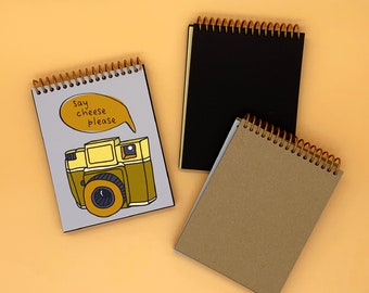 Mini Photo Album - Say Cheese Please - Handmade Travel Notebook - Couples Adventure Gift - Funny Photography Journal - Road Trip Scrapbook
