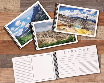 National Parks Journal - Hiking and Travel Logbook - USA Road Trip Album - Adventure Gift - Choose Glacier, Yellowstone, or Badlands Cover