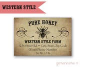 Personalized Honey Labels - Western Vintage Style - Rectangle / DIGITAL FILE