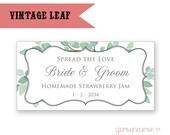 Personalized Vintage Leaves Label Designs - Spread the Love - Jam or Honey - Rectangle / DIGITAL FILE