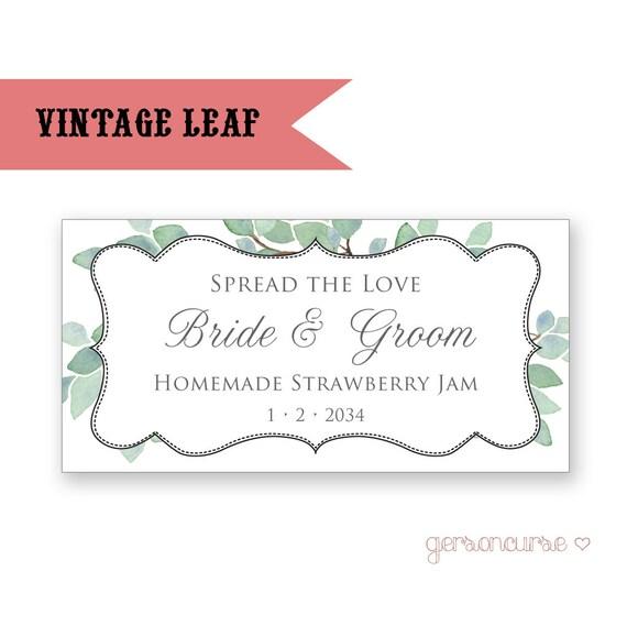 Personalisierte Vintage Blättern Etikettendesign verbreiten | Etsy