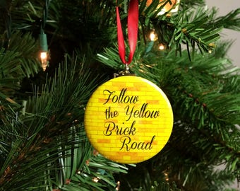 "Wizard of Oz Follow the Yellow Brick Road  2.25"" Christmas Tree Ornament"