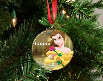 personalized beauty and the beast belle christmas tree 225 ornament b