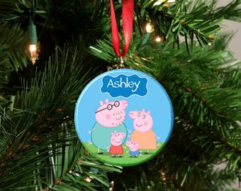 personalized peppa pig family christmas tree ornament