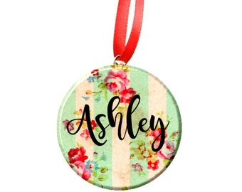 """Personalized Christmas 2.25"""" Ornament - Stripe Floral"""
