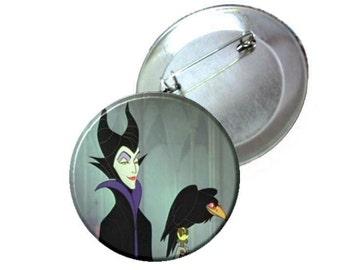 "1"" 1.25"" 2.25"" Pinback Button - Disney Sleeping Beauty Maleficent"