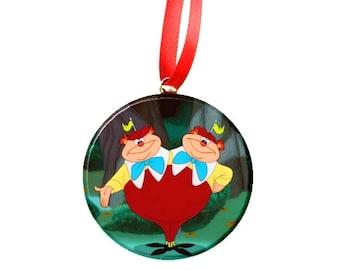"Alice in Wonderland tweedledee and tweedledum Image Christmas Tree 2.25"" Ornament"