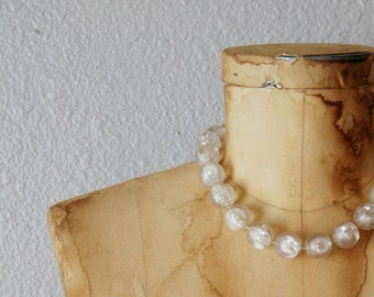 vintage CHUNKY mod necklace / 1950s  CLEAR LUCITE beaded necklace