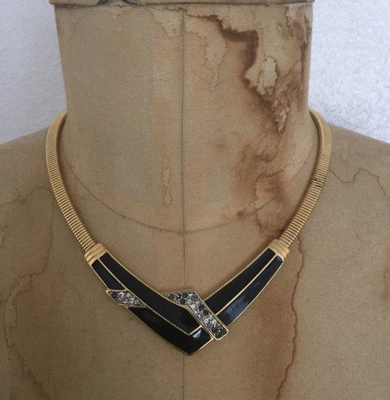 vintage GATSBY choker / 1970s ARTDECO necklace / g