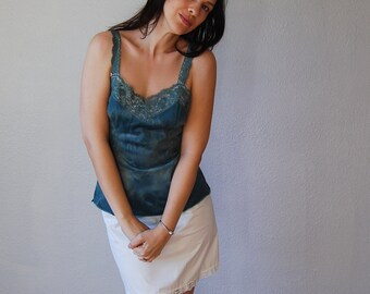 recycled CUT OUT cammy / hunter green OMBRE open back lingerie tank