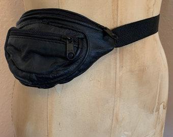 Vintage 80s Black Leather waist belt fanny pack adjustable belt bag