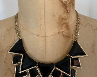 Vintage 1980s Gatsby Roaring Twenties Bejeweled Choker necklace