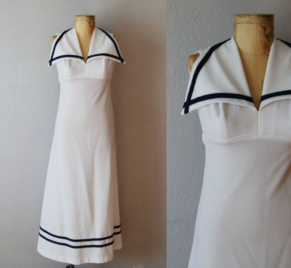vintage 1970s SAILORETTE maxi dress / cut out open
