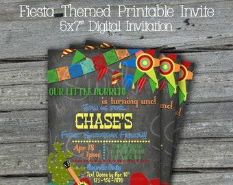 Fiesta Printable Birthday Invite | Cinco De Mayo Digital Invitation | Maracas Sombrero  Papel Picado | First Birthday Taco Twosday