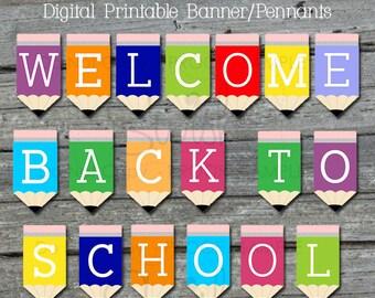 welcome back printable banner back to school sign teacher welcome teacher appreciation digital download instant download
