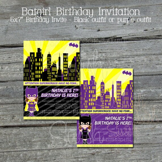 Printable Batgirl Birthday Invitation