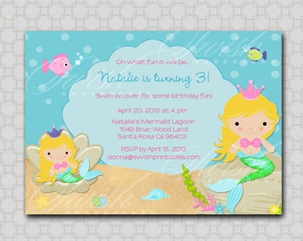 Mermaid Birthday Party Invitation - printable party - Digital