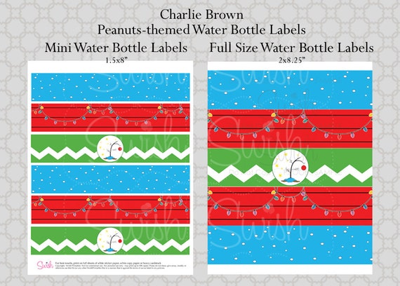 Peanuts Christmas Printable Water Bottle Labels Charlie Brown Lucy