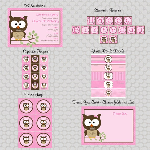 Owl Birthday Party Wide Eyed Printable DIY Includes
