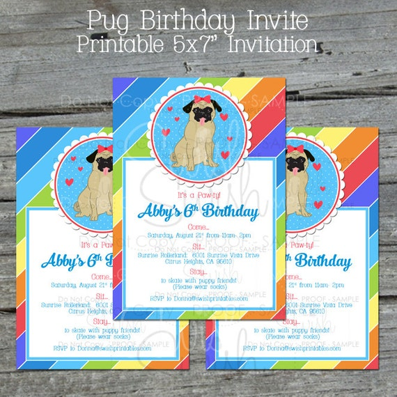 Printable Pug Birthday Invite Cute Dog Invitation Rainbow