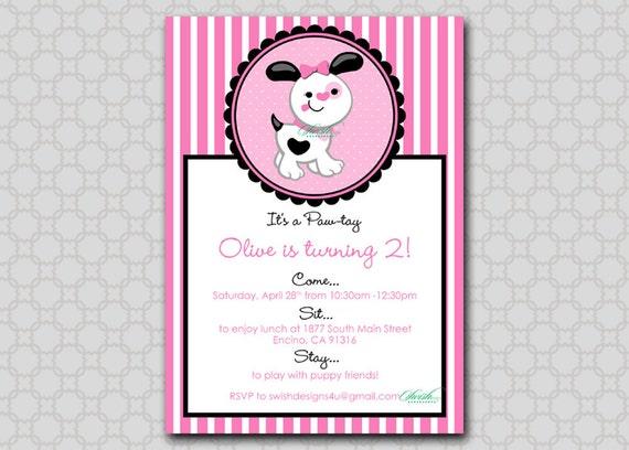 Printable Puppy Birthday Invitation