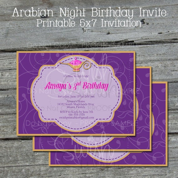 Printable Arabian Nights Birthday Invitation Genie Lamp Birthday