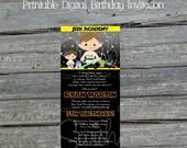 Printable Space Party  Birthday Invitation | Birthday Invite | Star burst party | Space Wars Digital Invite | DIY | Ticket | Jedi Academy