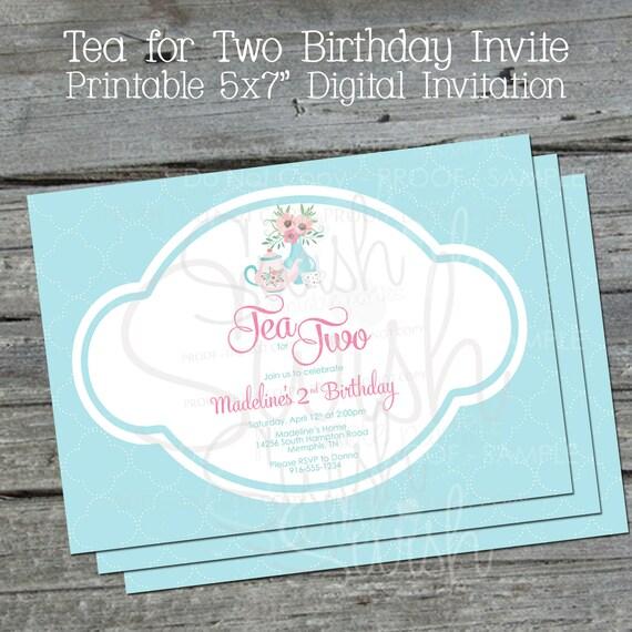 Tea For Two Printable Birthday Invitation