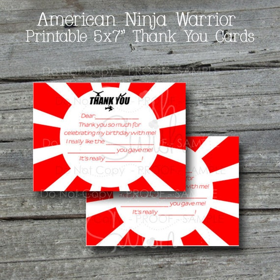 Green and Blue Included White Ninja Printable Thank You Cards Red