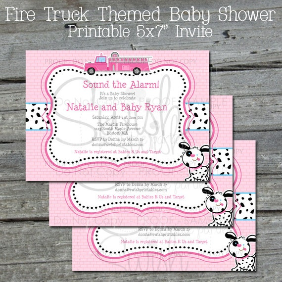 Pink Firetruck Baby Shower Invite Fire Truck Party Coed Shower