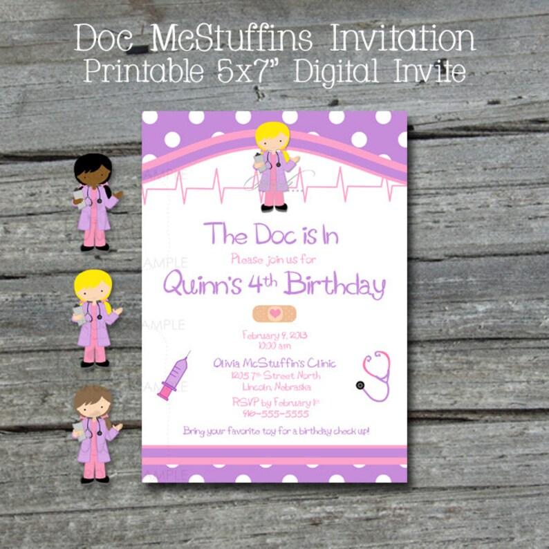 Doc Printable Birthday Invitation Doctor Party Invite