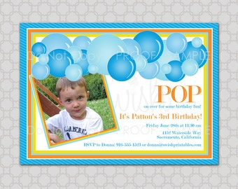 Bubble Party Birthday Printable Invitation -WITH PHOTO - 5x7 Digital Invite