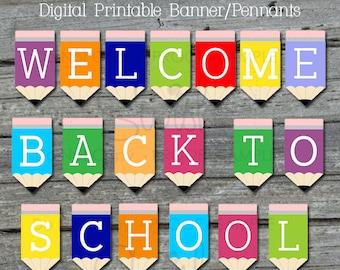 Back to school banner | Printable Banner| Welcome Back to school Sign | Teacher Welcome | Teacher Appreciation | Digital | Instant Download