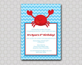 Crab Birthday Invitation --- Under the Sea, ocean digital printable party