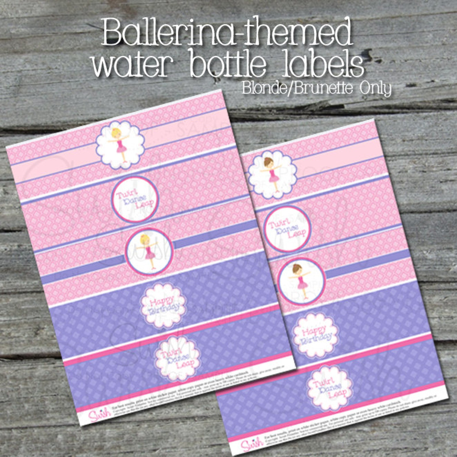 ballerina water bottle labels - instant download --- ballet toe shoes digital girl pink printable party