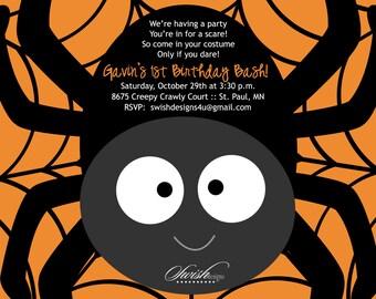 Digital Halloween Party Invitation | Printable Spider Birthday Invite