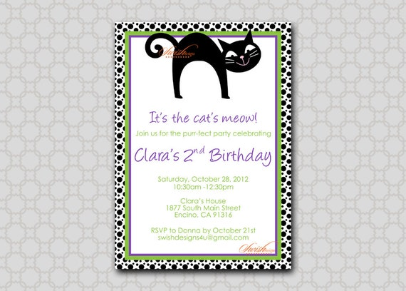 sale black cat halloween party invitation printable etsy