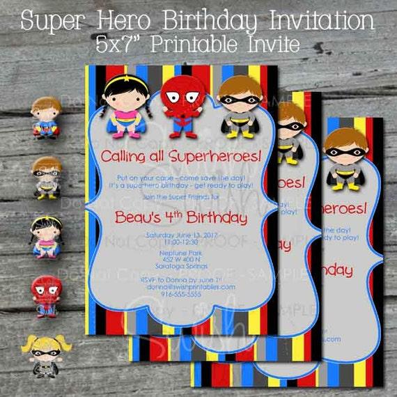 Printable Super Hero Birthday Party Invitation