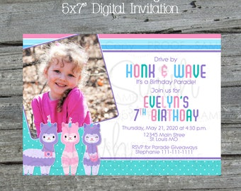 Quarantine Drive By Parade Llamacorn Birthday Invitation |  Llama Photo Birthday Invite | Party | Digital Download | Printable | Pandemic