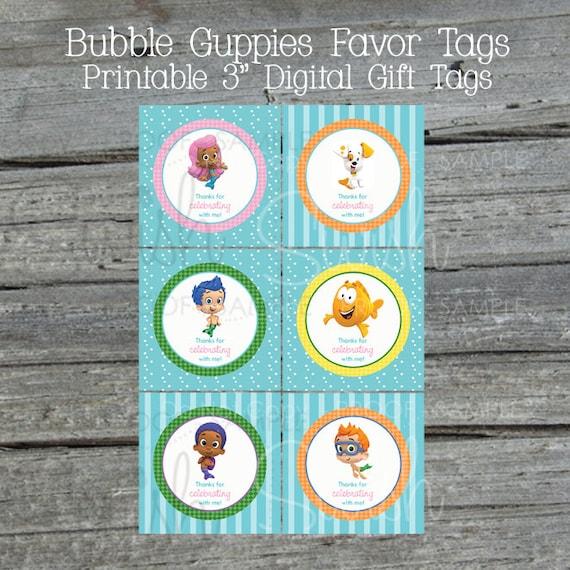 Bubble Favor Tags | Guppy | Starfish | Goldfish | Bubbles