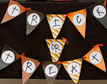 SALE:  Printable trick or treat Banner | Halloween Decoration | digital download | orange and black Trick or Treat | Instant Download