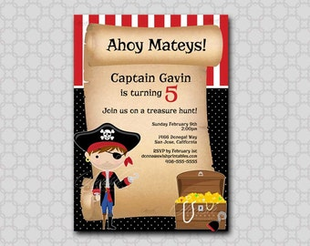 Pirate Birthday Invitation - printable party digital invite - 5x7