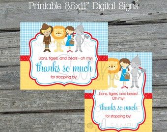 Wizard of Oz Thank you for coming Sign | favor table sign | Digital Download | 8.5x11 Printable | horizontal | vertical | Instant Download