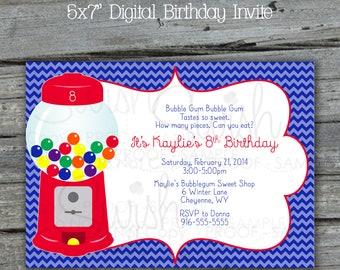 Bubble Gum Gum Ball Printable Birthday Party Invitation | Candy Land Digital Invitation | Red Blue Green Rainbow 5x7 |  Candy Machine