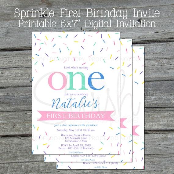 Digital or Printed Birthday Invitation Celebrate with Sprinkles Kid/'s Sprinkle Birthday Invitation Multicolor Sprinkle Birthday Invite