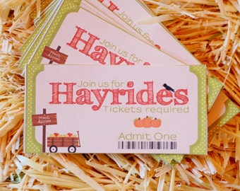 Digital Hayride Tickets |  Party game | Printable Fall Autumn Birthday Party | Instant Download