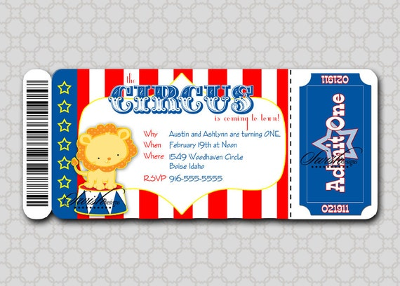 Printable Circus Birthday Invitation Boarding Pass