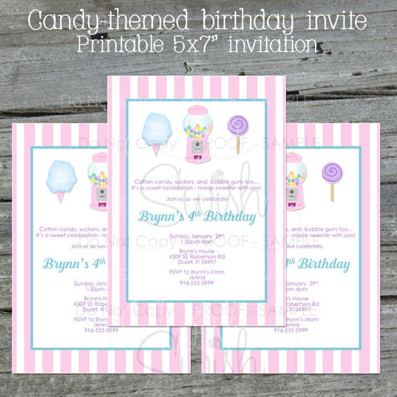 candy birthday invitation pink cotton candy sweet shop etsy